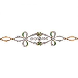 Edwardian Diamond and Demantoid Garnet Bracelet