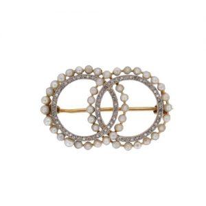 Edwardian Pearl and Diamond Circle Brooch