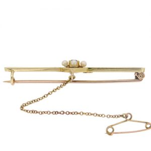 Edwardian Gold Pearl and Sapphire Bar Brooch