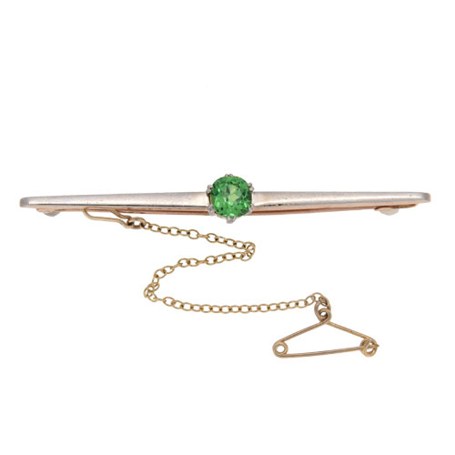 Edwardian Gold Green Garnet Bar Brooch