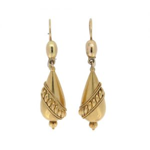 Victorian Classic Gold Bomb Drop Earrings