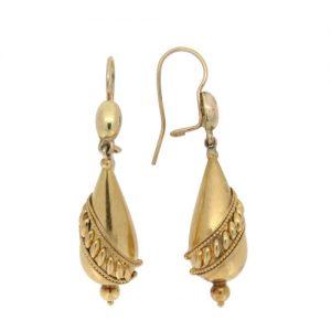 Victorian Classic Gold Bomb Drop Earrings
