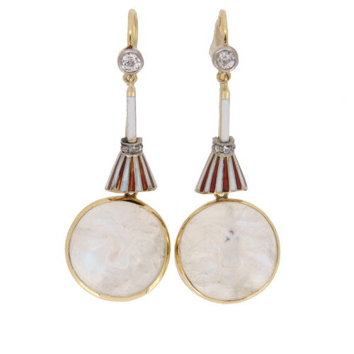 Edwardian Man in the Moonstone Diamond Drop Earrings