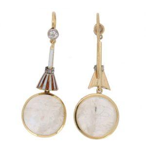 Edwardian Man in the Moonstone Diamond Drop Earrings