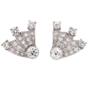 Art Deco Diamond Comet Stud Earrings
