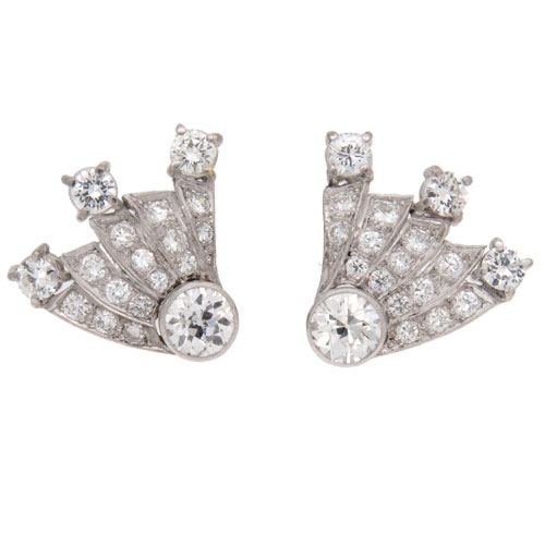 Art Deco Diamond Comet Stud Earrings