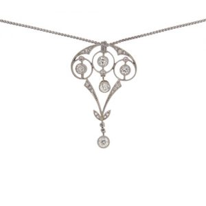 Edwardian White Gold Diamond Foliate Pendant