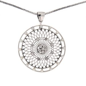 Edwardian White Gold Pearl and Diamond Circular Pendant