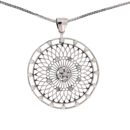 Edwardian White Gold Pearl and Diamond Circular Pendant