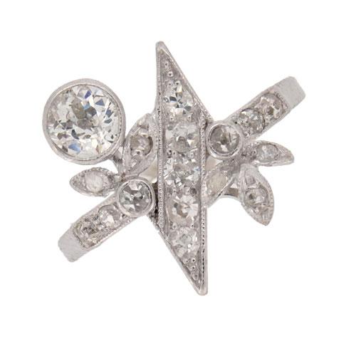 Art Deco White Gold Celestial Diamond Cluster Ring