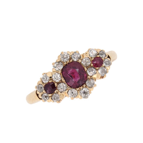 Victorian Ruby and Diamond Triple Cluster Ring