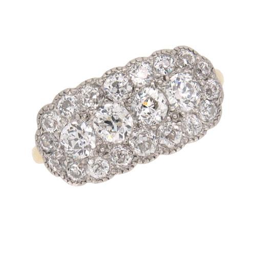 Edwardian Diamond Pave Set Cluster Ring