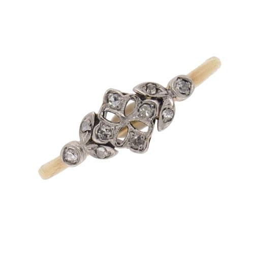Edwardian Gold Diamond Fancy Cluster Ring