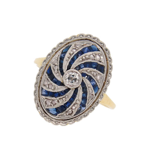 Art Deco Sapphire and Diamond Swirl Cluster Ring