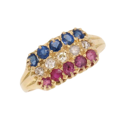 Edwardian Gold Ruby Diamond and Sapphire Patriotic Ring