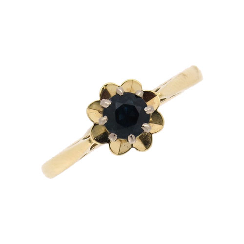 Pre Owned Gold Sapphire Solitaire Ring