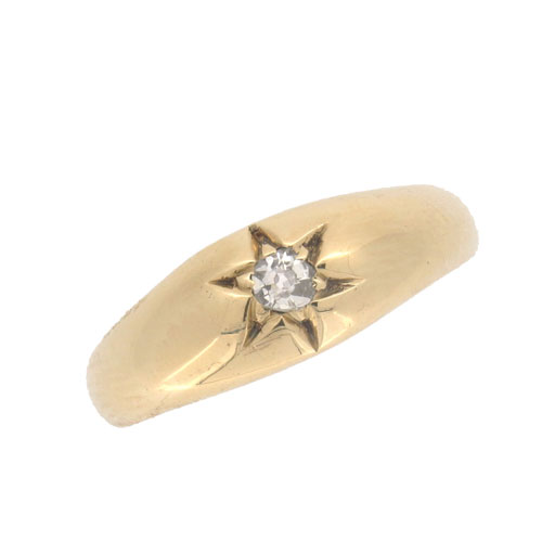 Victorian Gold Diamond Solitaire Gypsy Ring