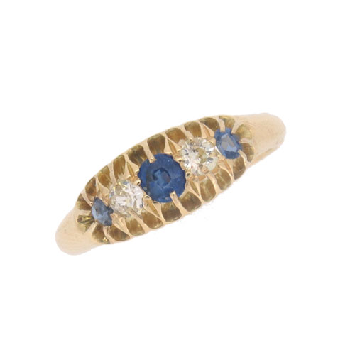 Edwardian Sapphire and Diamond Half Hoop Ring
