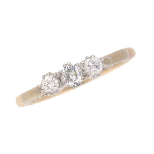 Pre Owned Gold Diamond Three Stone Ring