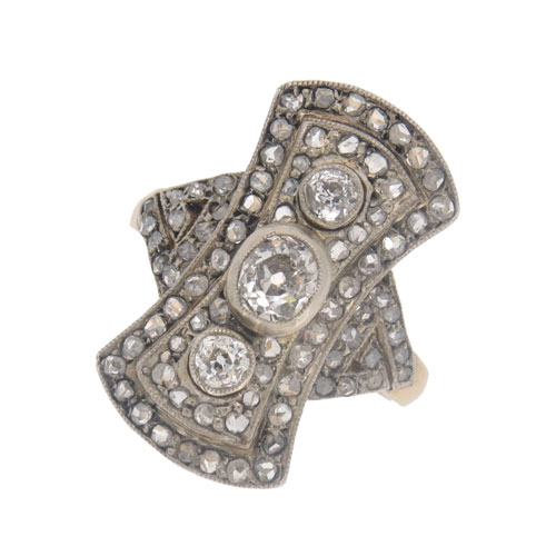 Victorian Gold Diamond Cluster Finger Line Ring