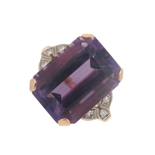 Pre Owned Amethyst and Diamond Ring