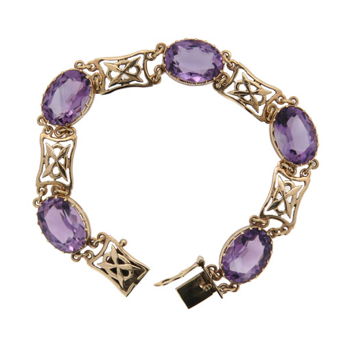Pre Owned Amethyst Gold Bracelet
