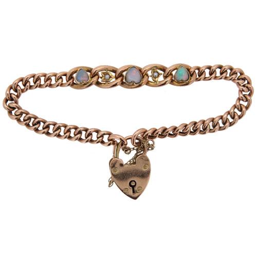 Edwardian Gold Curb Link Bracelet With Opals