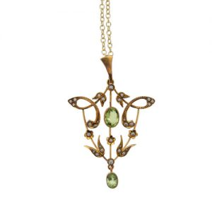 Victorian Gold Peridot and Pearl Pendant