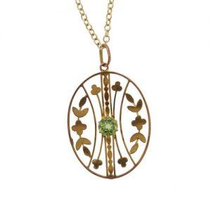 Victorian Gold Peridot Pendant