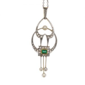 Edwardian Emerald Diamond and Pearl Pendant