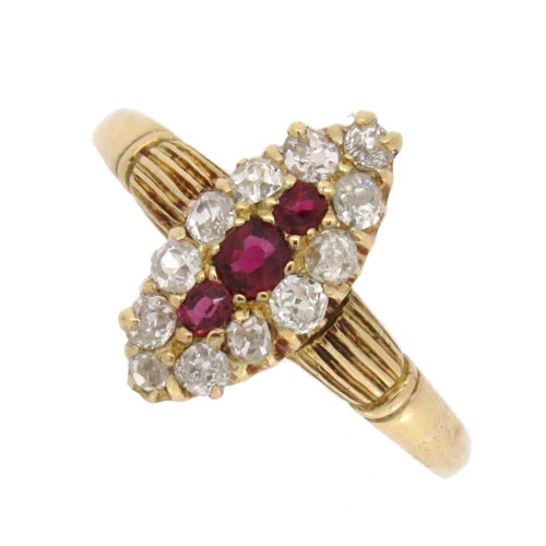 Victorian Ruby and Diamond Marquise Cluster Ring