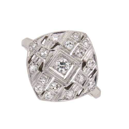Art Deco Platinum Diamond Plaque Ring
