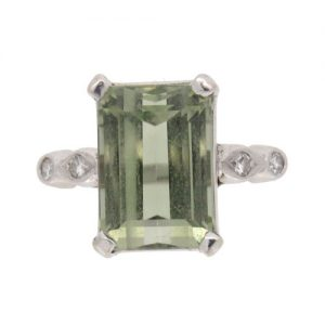 Pre Owned Tourmaline and Diamond Cocktail Ring