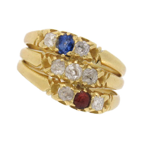 Victorian Ruby, Sapphire and Diamond Patriotic Ring