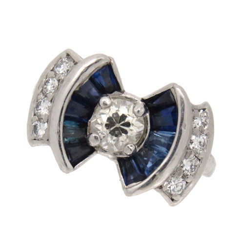 Art Deco Sapphire and Diamond Cluster Bow Ring