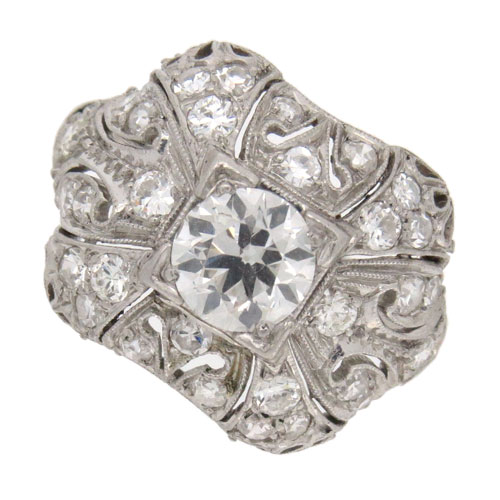 Art Deco Fancy Diamond Cluster Ring
