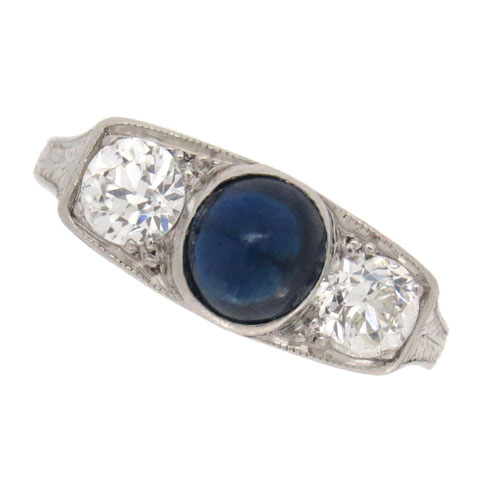 Art Deco Sapphire and Diamond Three Stone Ring