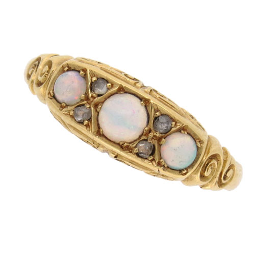 Edwardian Opal and Diamond Half Hoop Ring