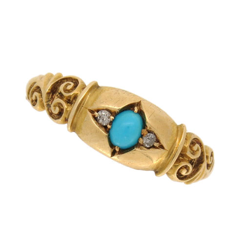 Edwardian Turquoise and Diamond Three Stone Ring
