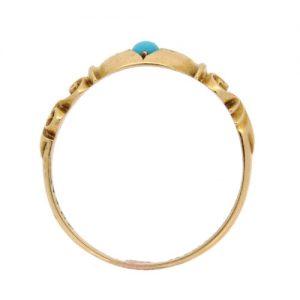 Edwardian Turquoise and Diamond Three Stone Ring
