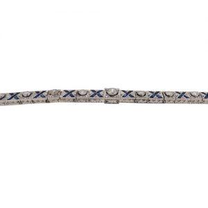 Art Deco Sapphire and Diamond Line Bracelet