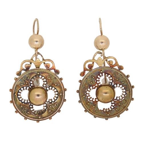 Victorian Gold Etruscan Drop Earrings
