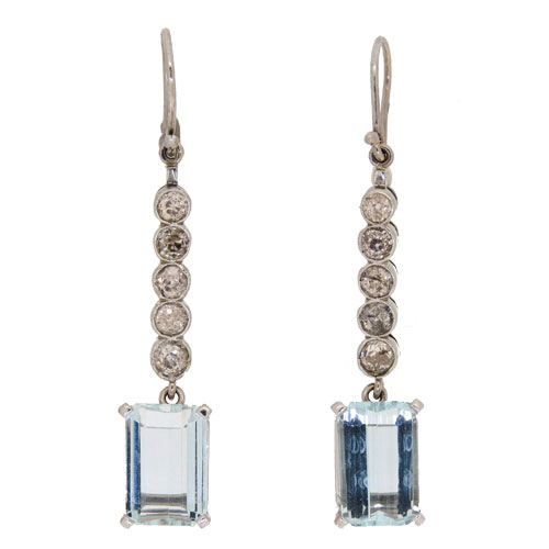 Pre Owned Aquamarine and Diamond Drop Earrings