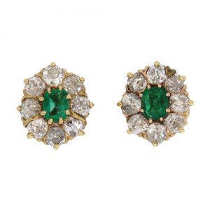 Victorian Gold Emerald and Diamond Cluster Stud Earrings