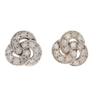 Pre Owned Diamond Cluster Stud Earrings