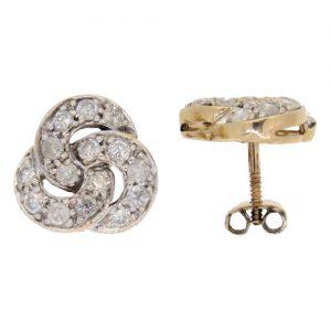 Pre Owned Diamond Cluster Stud Earrings
