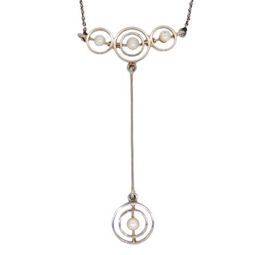 Art Deco Gold & Platinum Pearl Pendant