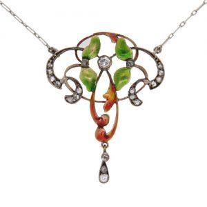 Art Nouveau Gold Enamel Pearl and diamond Necklet