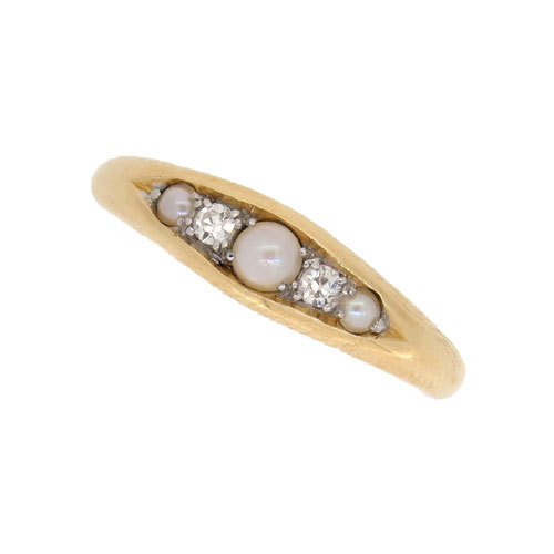 Edwardian Pearl and Diamond Half Hoop Ring