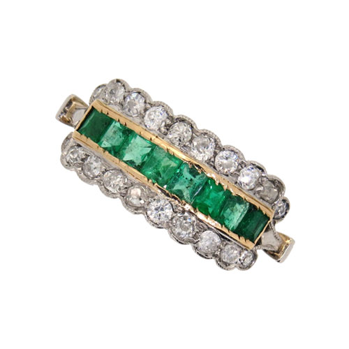 Edwardian Emerald and Diamond Half Hoop Ring